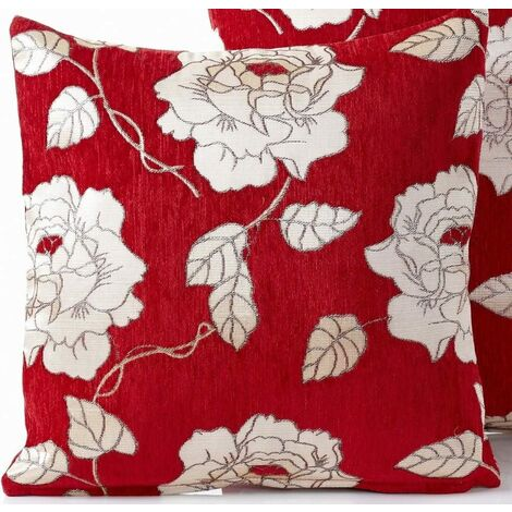 Chenille Rose Cushion Cover Square Red 45x45cm