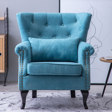 Chenille Wingback Armchair With Cushion