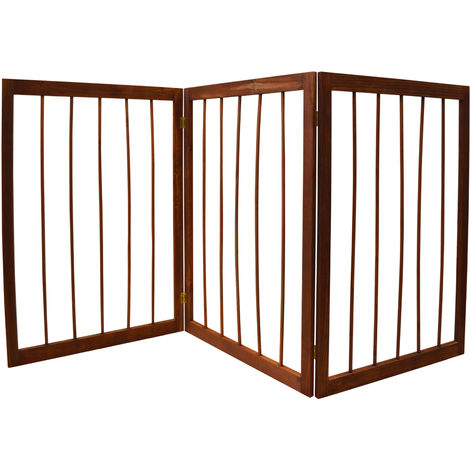 CHERISH - 3 Section Solid Wood Folding Pet Gate - Brown