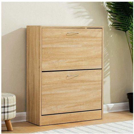 Cherry Tree Furniture 2 Drawer Wooden Shoe Cabinet Cupboard Storage Footware Organiser Unit