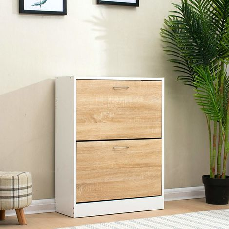 Cherry Tree Furniture 2 Drawer Wooden Shoe Cabinet Cupboard Storage Footware Organiser Unit