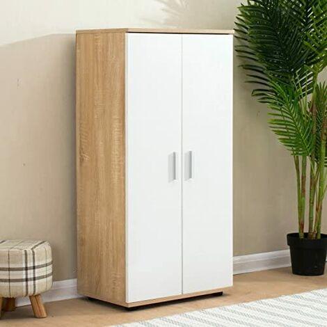 Cherry Tree Furniture 2 Drawer Wooden Shoe Cabinet Cupboard Storage Footware Organiser Unit (Oak)