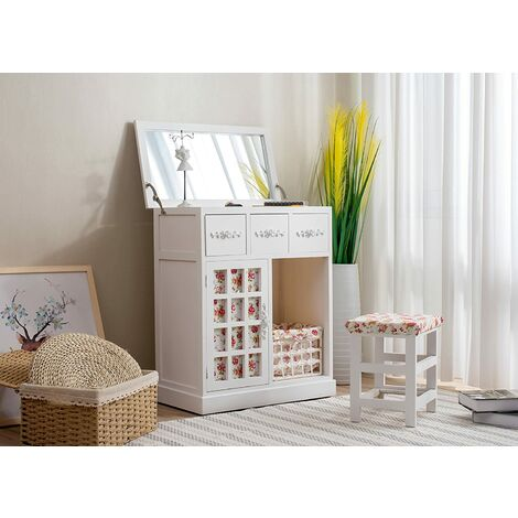 Cherry Tree Furniture 3-Drawer Shabby Chic Dressing Table Set Dresser with Folding Mirror & Floral Stool