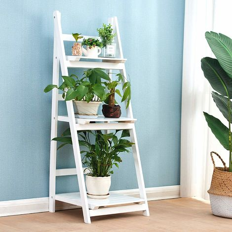 Cherry Tree Furniture 3-Tier Foldable Display Shelf Unit, Flower Shelf Unit, Standing Plant Holder (White)
