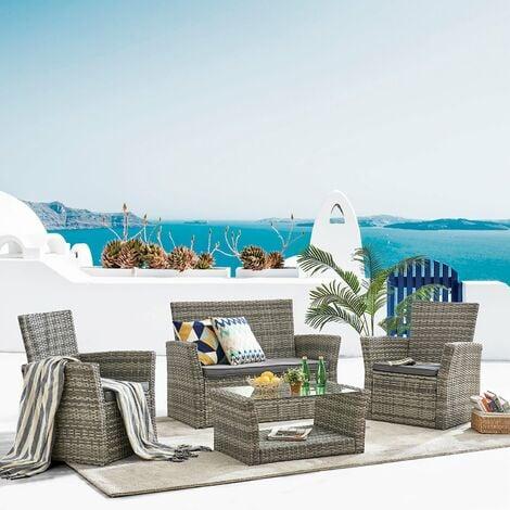 "main image of ""Cherry Tree Furniture 4 Seater Grey Garden Furniture Set Patio Set in Grey"""