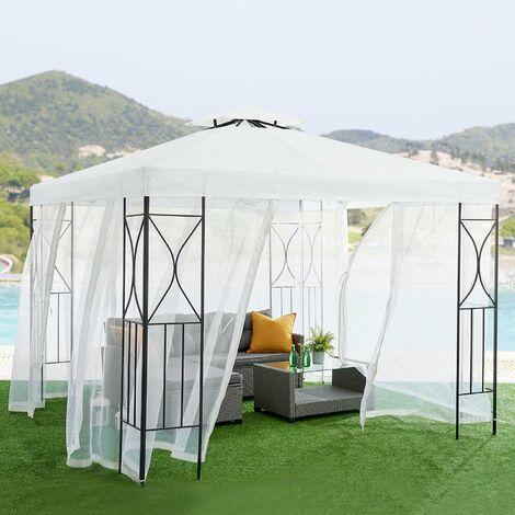 Cherry Tree Furniture Aruba 3x3m Ivory White Gazebo With Mosquito Net