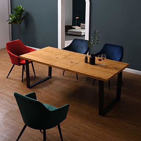 Cherry Tree Furniture BERN 6-8 Seater Oak Extending Dining Table with Metal Legs