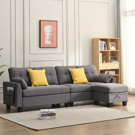 Cherry Tree Furniture Brunswick 4 Seater Storage Chaise Sofa in Grey