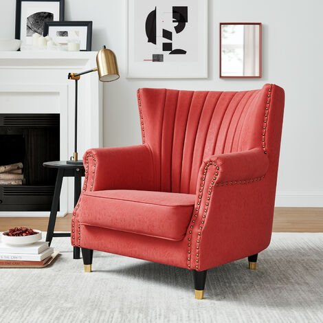 """main image of """"Cherry Tree Furniture Cadogan Vintage Styled Studded Wingback Armchair"""""""