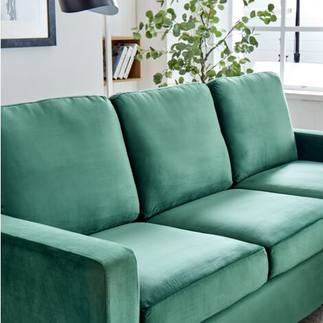 Cherry Tree Furniture Campbell 3 Seater Sofa with Reversible Chaise in Green Velvet