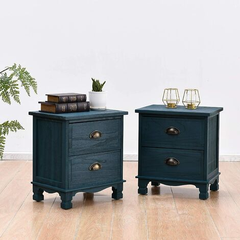 Cherry Tree Furniture CAMROSE 2X Wooden Bedside Cabinet with Metal Cup Pull Handles 2 Drawer Pair