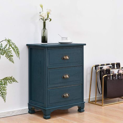 Cherry Tree Furniture CAMROSE Wooden Chest of Drawers/Bedside Table with Metal Cup Pull Handles 3 Drawer