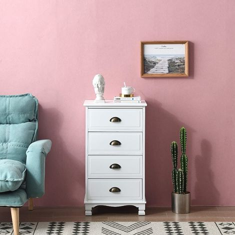 Cherry Tree Furniture CAMROSE Wooden Chest of Drawers/Bedside Table with Metal Cup Pull Handles 4 Drawer