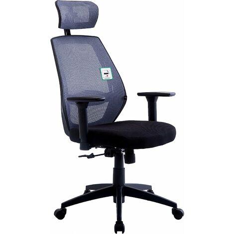 Cherry Tree Furniture Chaise de bureau pivotante à dossier haut en maille avec accoudoirs réglables, support lombaire et appui-tête