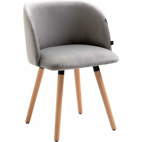 Cherry Tree Furniture Chaise de bureau pivotante en velours gris avec pieds chromés