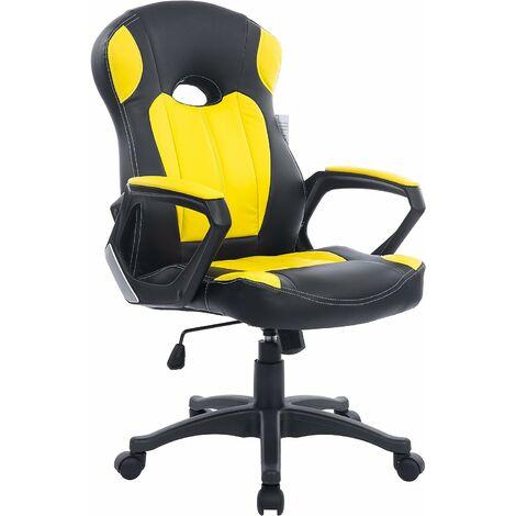 Cherry Tree Furniture Chaise gaming pivotante en cuir PU de couleur