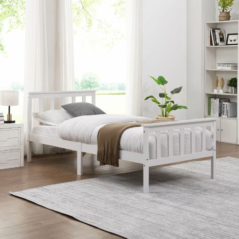 """main image of """"Cherry Tree Furniture Clement Solid Wood Single 3FT Bed Frame White"""""""