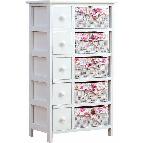 Cherry Tree Furniture Commode blanche à 5 tiroirs avec paniers en osier floral