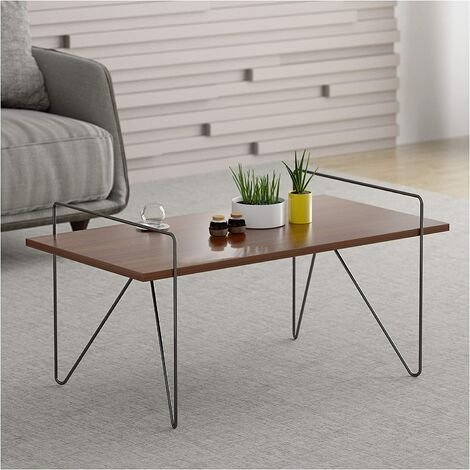Cherry Tree Furniture CTF STELLA Walnut Living Room Coffee Table Side Table with Curved Metal Legs