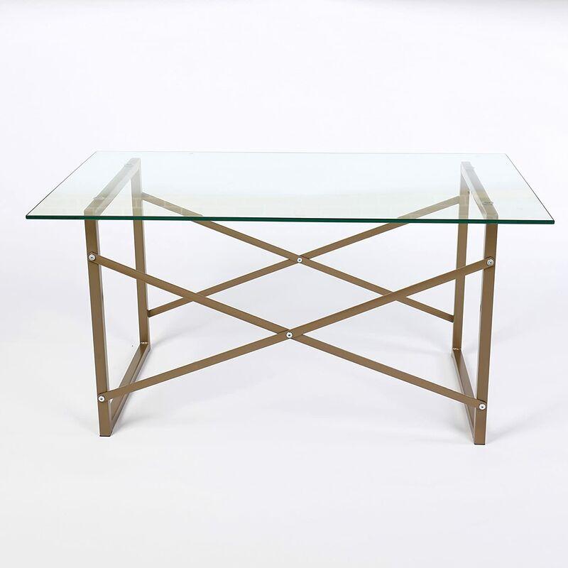 Cherry Tree Furniture CTF VENUS Modern Living Room Glass Top Coffee Table with Geometric Metal Frame