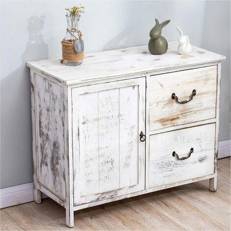 Cherry Tree Furniture Distressed White Paulownia Wood Shabby Chic Sideboard Storage Cabinet