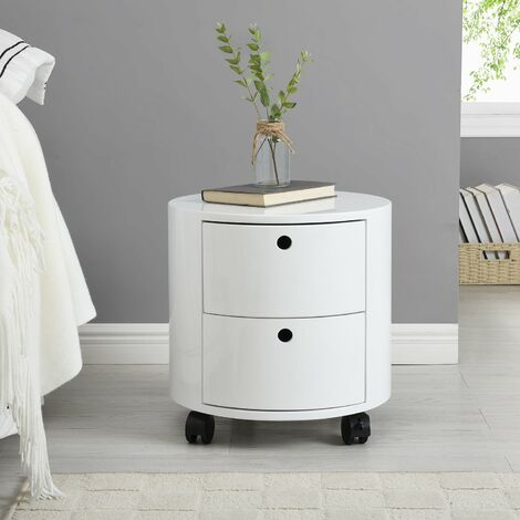 Cherry Tree Furniture DOLIO Drum Chest Bedside Table, Barrel Side Table with Drawers High Gloss White 2 Drawer