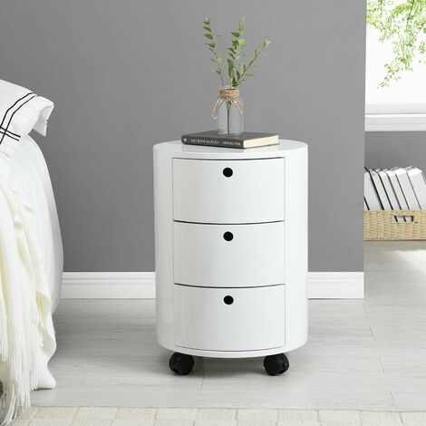 Cherry Tree Furniture DOLIO Drum Chest Bedside Table, Barrel Side Table with Drawers High Gloss White 3 Drawer