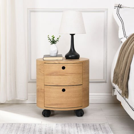 """main image of """"Cherry Tree Furniture DOLIO Drum Chest Bedside Table, Barrel Side Table with Drawers Oak 2 Drawer"""""""