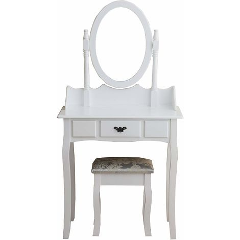 Cherry Tree Furniture Dressing Table Makeup Dresser Set with Cushioned Stool & Oval Mirror