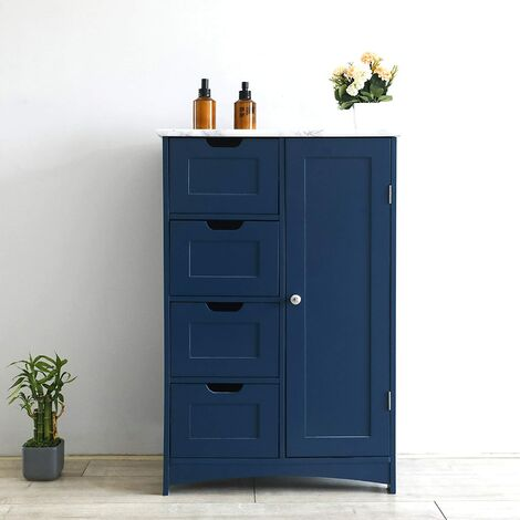 Cherry Tree Furniture Free Standing Wooden Bathroom Cabinet with 1-Door Cupboard and 4-Drawer & Marble Effect Top