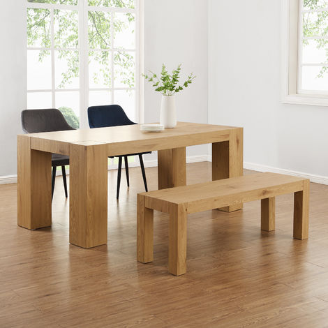 Cherry Tree Furniture Giles Oak Effect 180 cm Dining Table and Bench Set