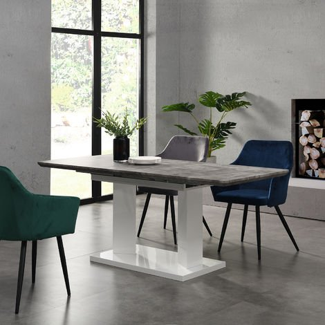 Cherry Tree Furniture Goswell Concrete Effect Extending Dining Table 6 to 8 Seater