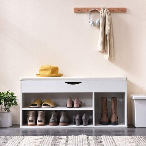 Cherry Tree Furniture Hallway Shoe Rack Padded Bench Storage 103.5 x 29.5 x 48 cm