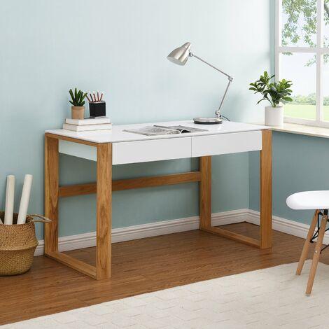 Cherry Tree Furniture Heather Solid Oak and Matt White Large 2 Drawer Desk