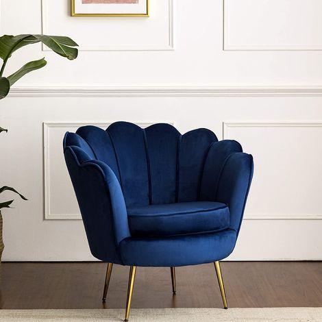 "main image of ""Cherry Tree Furniture HEPBURN Scalloped Velvet Armchair Tub Chair Blue"""