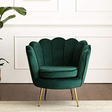 Cherry Tree Furniture HEPBURN Scalloped Velvet Armchair Tub Chair Green