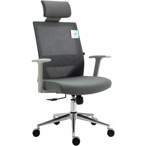 Cherry Tree Furniture Joni High Back Mesh Office Chair with Headrest in Grey