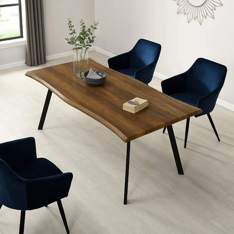 Cherry Tree Furniture Kenora Wood Effect 180 cm Dining Table with Curved Edges 6 Seater