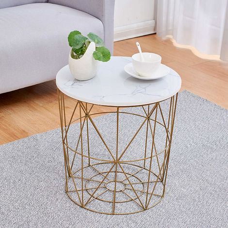 "main image of ""KORAM Basket Side Table Golden Geometric Wire Frame End Table"""