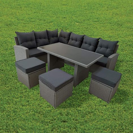 Cherry Tree Furniture Large Rattan Effect Corner Sofa Patio Dining Set with Table