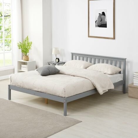 Cherry Tree Furniture Linnelle FSC Certified Solid Wood Bed Frame in Grey UK King