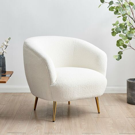 """main image of """"Cherry Tree Furniture Lizzy Teddy White Armchair with Gold Stainless Steel Legs"""""""
