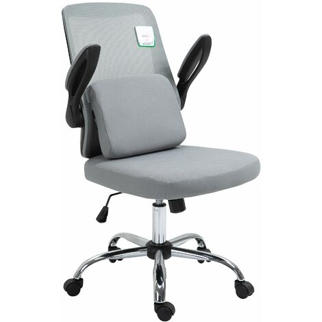 Cherry Tree Furniture LULA Grey Mesh Office Chair with Folding Arms and Removable Lumbar Cushion