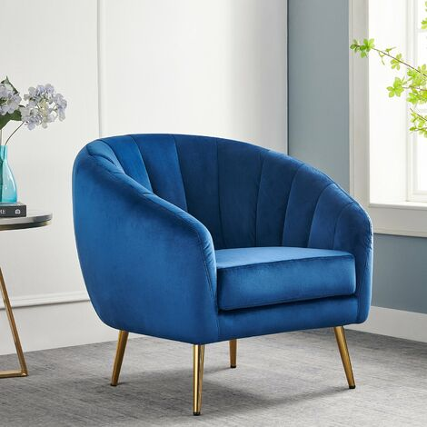 Cherry Tree Furniture Mahleen Fluted Velvet Armchair with Gold Tapered Legs