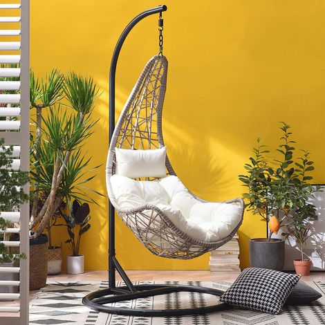Cherry Tree Furniture Maple Rattan Effect Hanging Patio Moon Chair Cocoon