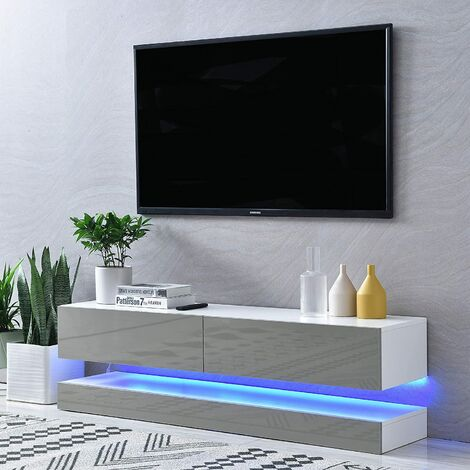 """Cherry Tree Furniture MELDAL LED High Gloss TV Stand, TV Unit Cabinet for TV Size up to 55"""", 138 cm"""