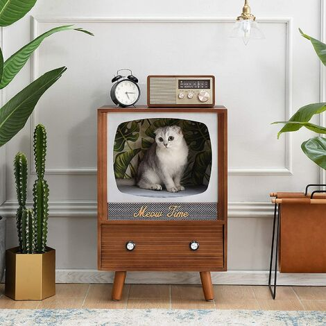 Cherry Tree Furniture MIHOS Meow Time Wooden Vintage TV Style Cat Condo
