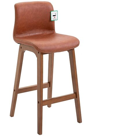 Cherry Tree Furniture MOHLIN Retro High Barstool Bar Chair with Solid Beech Legs in Vintage Brown PU