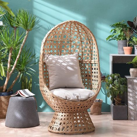 Cherry Tree Furniture Nerida Natural Rattan Effect Cocoon Swivel Garden Egg Chair