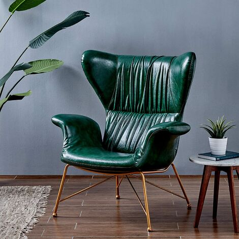 Cherry Tree Furniture Oliver Vintage Effect Wingback Green PU Leather Armchair Accent Chair